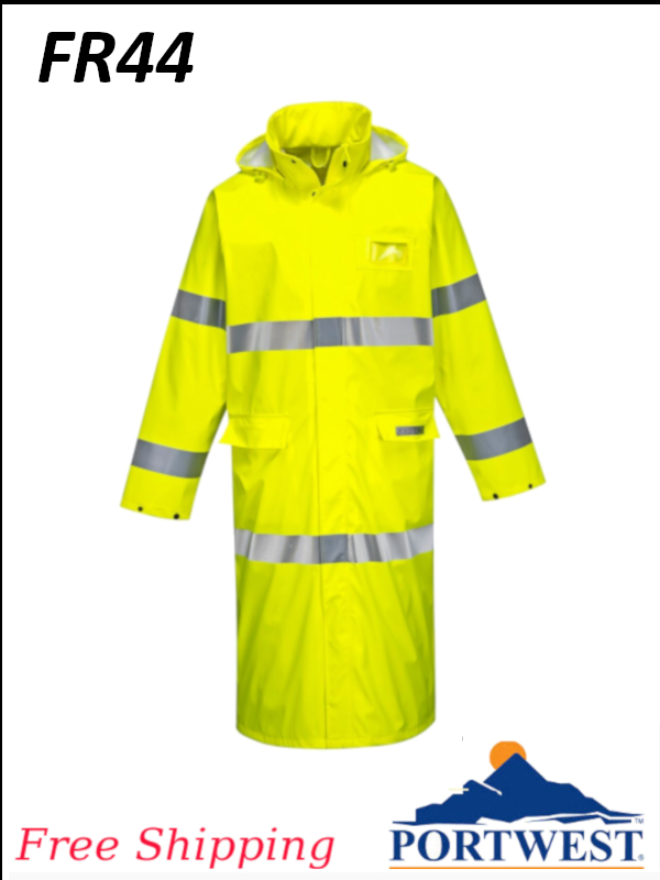 "Portwest FR44, Maximum Wind, Rain and Flame Protection, Hi-Vis Coat 50""/SHIPPING INCLUDED/$ per Coat"