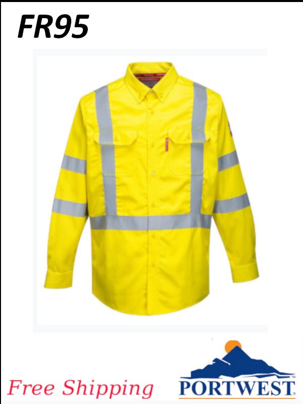Portwest FR95, Bizflame 88/12 Flame Resistant, Hi-Vis Shirt, Long Sleeve/FREE SHIPPING /$ per Shirt
