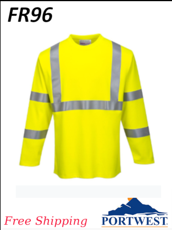 Portwest FR96, Flame Resistant, Hi-Vis Long Sleeve T Shirt/SHIPPING INCLUDED/$ per Shirt