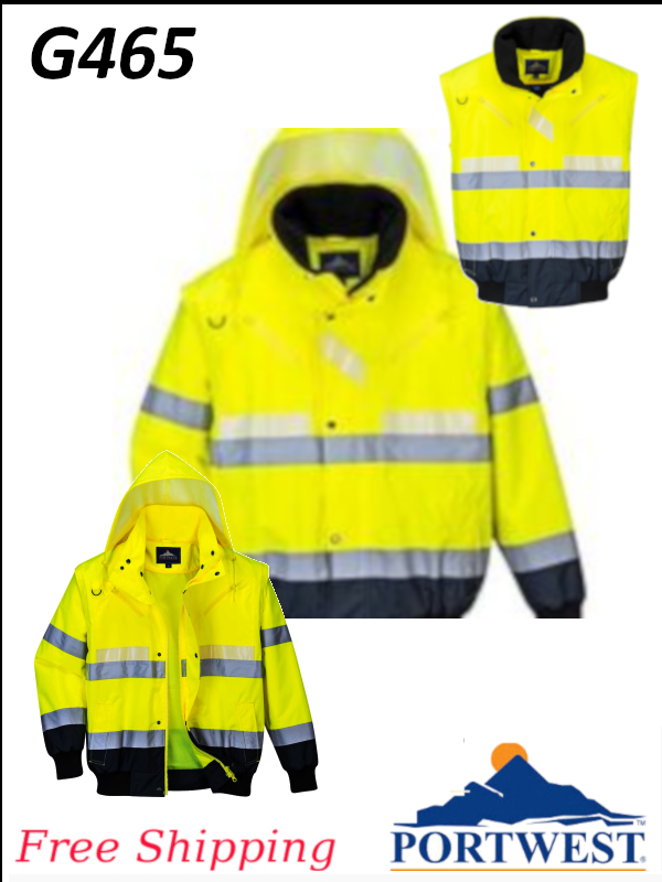 Portwest G465, Glowtex 3-in-1 Bomber Jacket/FREE SHIPPING/$ per Jacket