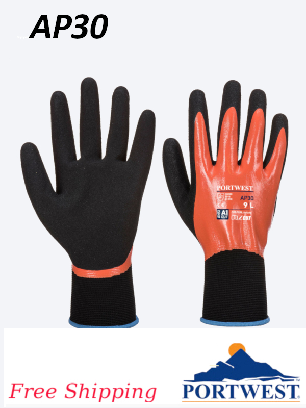 Portwest AP30, Nitrile Coated Dermi Pro Glove/FREE SHIPPING/$ per Pair