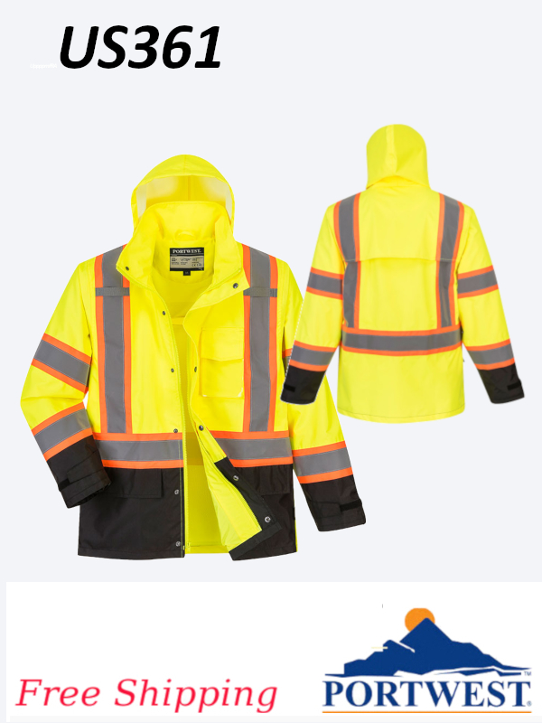 Portwest US361, High Vis, Contrast Tape Rain Jacket/SHIPPING INCLUDED/$ per Jacket