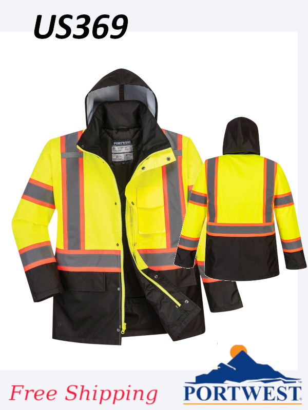 Portwest US369, High Vis, Contrast Tape Traffic Jacket/SHIPPING INCLUDED/$ per Jacket