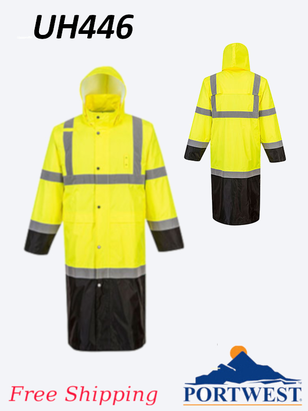 Portwest UH446, High Vis, Rain Coat - 48 Inches/SHIPPING INCLUDED/$ per Jacket