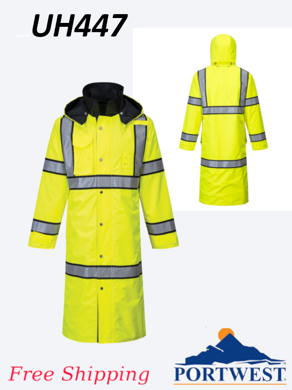 Portwest UH447, High Vis, Reversible Rain Coat - 48 Inches/SHIPPING INCLUDED/$ per Jacket