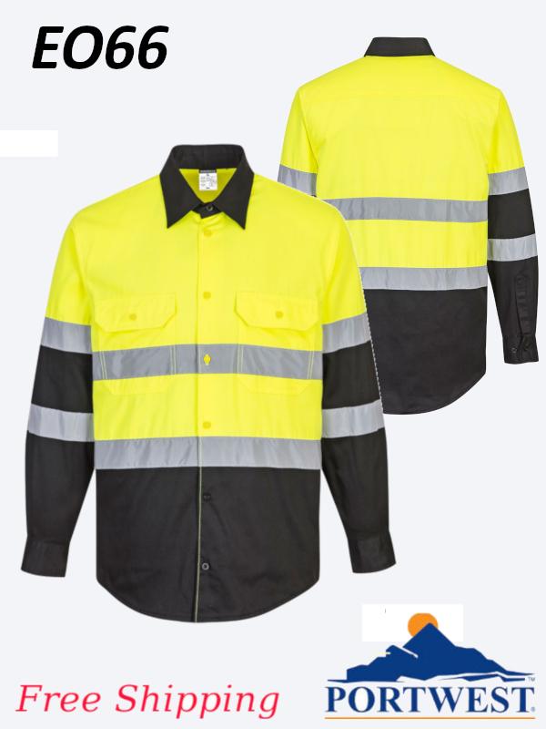 Portwest EO66, Two-Toned, ANSI, Long Sleeve Work Shirt/FREE SHIPPING/$ per Shirt