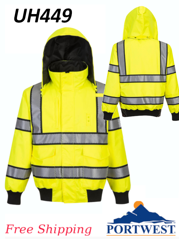 Portwest UH449, Hi-Viz Yellow, Black Trim, Reversible, Bomber Jacket/FREE SHIPPING/$ per Jacket