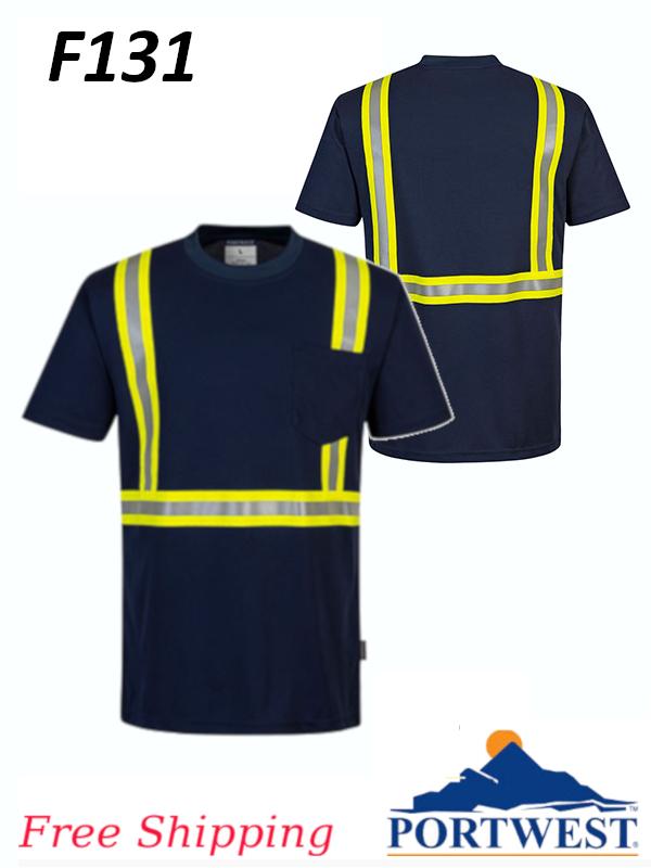 Portwest F131, Enhanced Visibility Iona Xtra Short Sleeve T-Shirt, FREE SHIPPING/$ per Shirt
