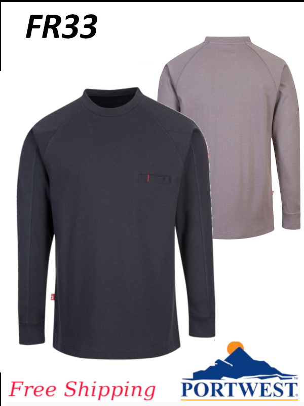 Portwest FR33, Flame Resistant, Antistatic, Crew Neck, Long Sleeve Shirt/SHIPPING INCLUDED/$ per Shirt