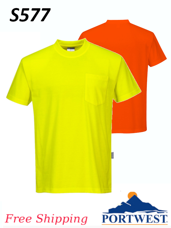 Portwest S577, NON Ansi Cotton Blend Short Sleeved T-Shirt with Chest Pocket/SHIPPING INCLUDED/$ per Shirt