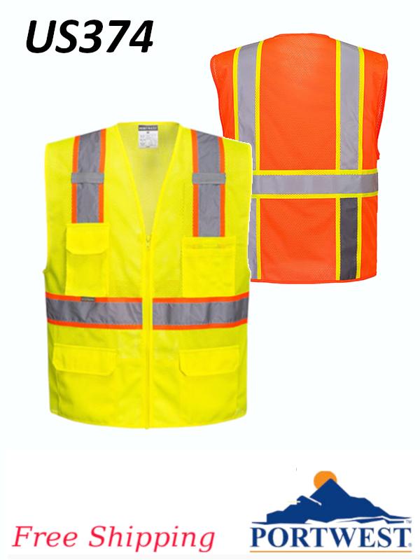 Portwest US374, Orlando Contrast Mesh Hi-Vis Vest/SHIPPING INCLUDED/$ per Vest