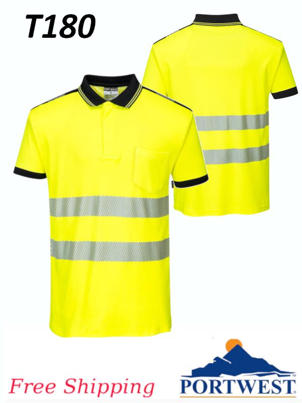Portwest T180, Hi-Vis Short Sleeve Polo Shirt/FREE SHIPPING/$ per Shirt
