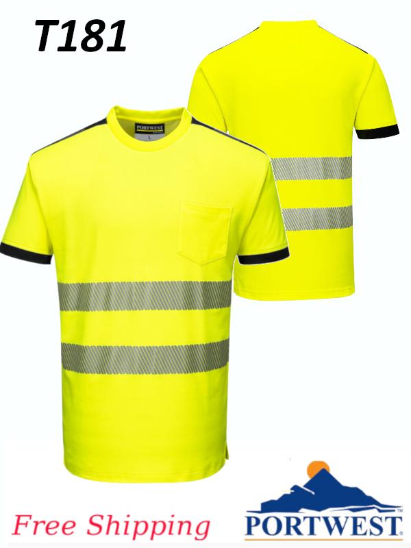 Portwest T181, PW3 Hi-Vis Short Sleeve T-Shirt/FREE SHIPPING/$ per Shirt