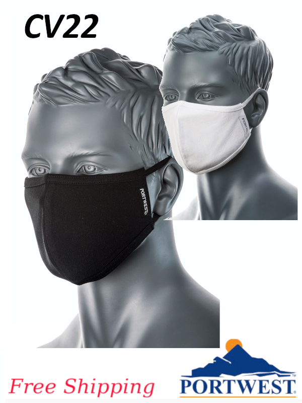 Portwest CV22, 2-Ply Anti-Microbial Fabric Face Mask/FREE SHIPPING/$ per PK25