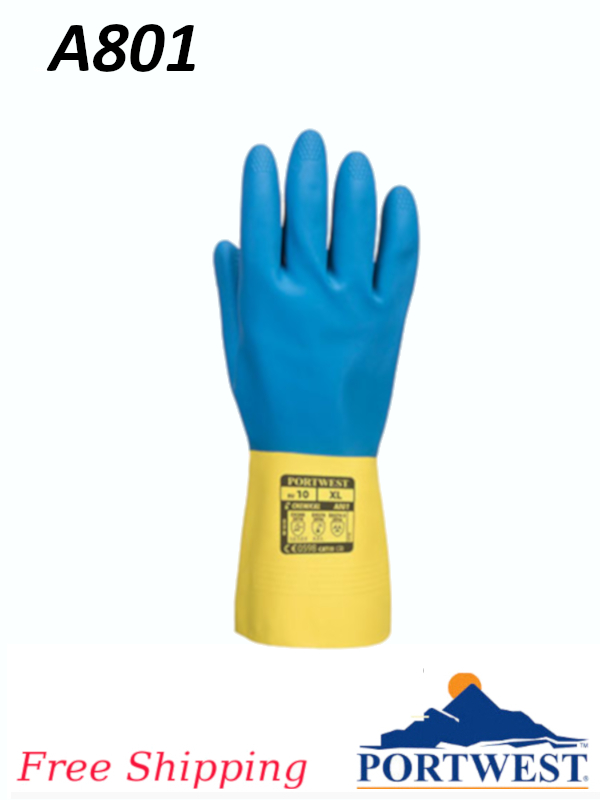 Portwest A801, Double Dipped Latex Gauntlet/FREE SHIPPING/$ per Pair