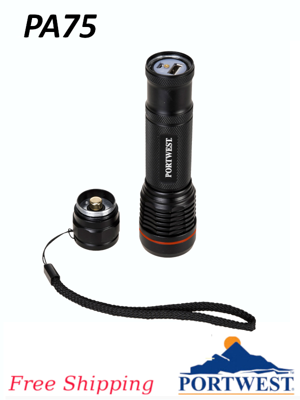 Portwest PA75, USB Rechargeable Flashlight/FREE SHIPPING/$ per Light