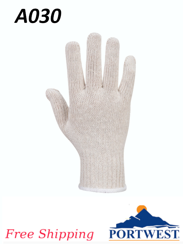 Portwest A030, String Knit Liner Glove (300 Pairs)/FREE SHIPPING/$ per 300 Pair
