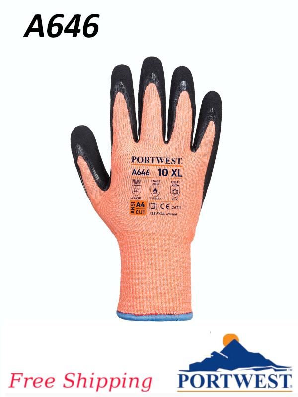 Portwest A646, Vis-Tex Winter HR Cut Glove Nitrile/FREE SHIPPING/$ per Pair