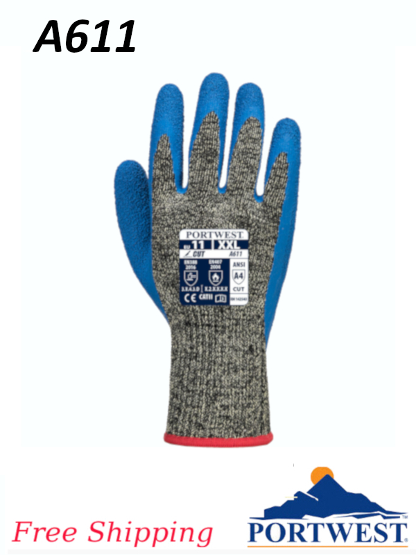 Portwest A611, Aramid HR Cut Latex Glove/FREE SHIPPING/$ per Pair