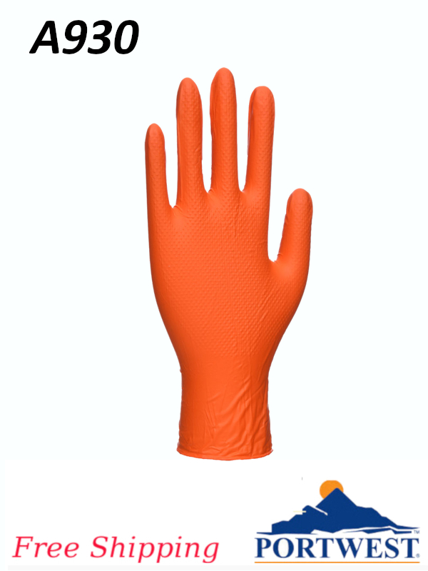 Portwest A930, Orange HD Disposable Gloves/FREE SHIPPING/$ per Box of 100