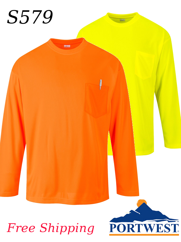 433fd585cb41 Portwest S579, NON-ANSI Pocketed Hi-Vis Long Sleeve T-Shirt/SHIPPING  INCLUDED/$ per Shirt